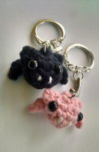 bat amigurumi keychains