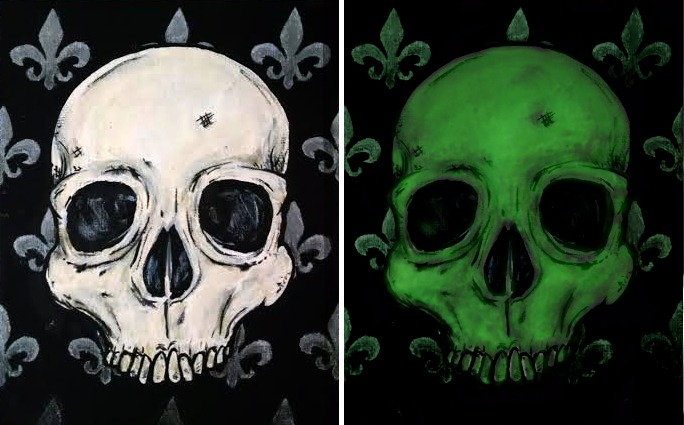 glow-in-the-dark skull painting