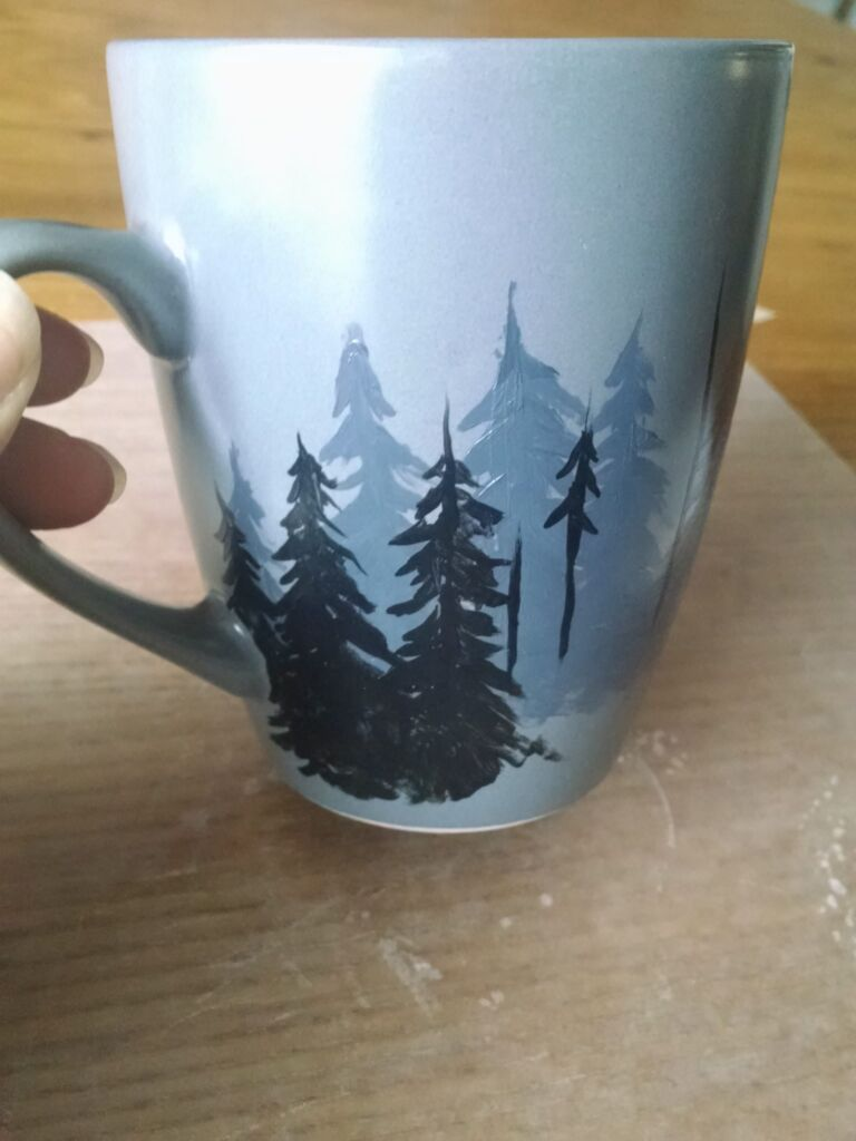 Diy ceramic mug painting tutorial dark forest scene for Ceramic mural tutorials