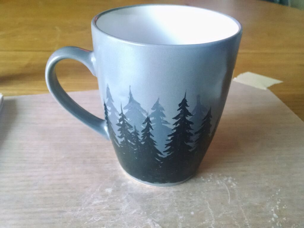Diy ceramic mug painting tutorial dark forest scene for Clay mural tutorial