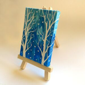 mini canvas painting snowy forest side ryanne levin