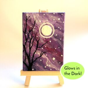 mini canvas paintings spooky moon glows in the dark ryanne levin