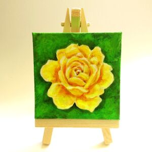 mini yellow rose acrylic painting ryanne levin