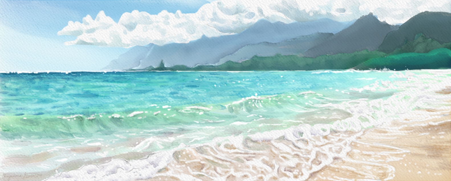 Digital Watercolor Ocean Cover Ryanne Levin Art