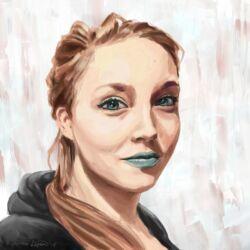 digital art portrait of blond girl