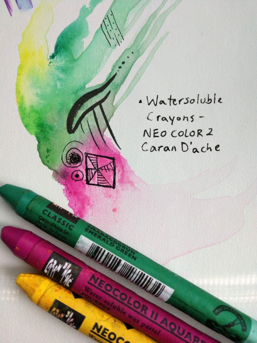 water soluble neo color 2 crayons on Yes! All media artist canvas