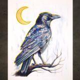 crescent-moon-raven-at-night-ryanne-levin-art