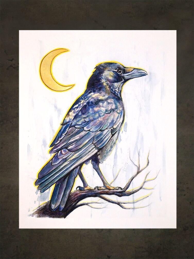 Crescent Moon Raven