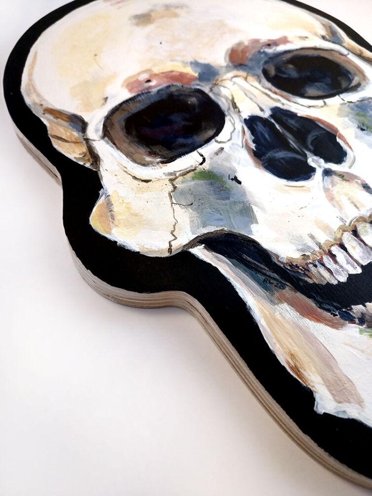 Skull on Wood Panel